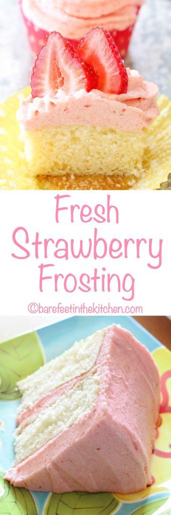 ¡El glaseado de fresa fresca es el sueño de los amantes de las fresas hecho realidad! Obtén la receta en barefeetinthekitchen.com