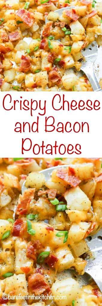 Las patatas crujientes con queso y tocino son un éxito con cualquier comida.