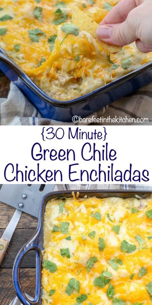Enchiladas de pollo con chile verde ¡hechas en solo 30 minutos! Obtenga la receta en barefeetinthekitchen.com