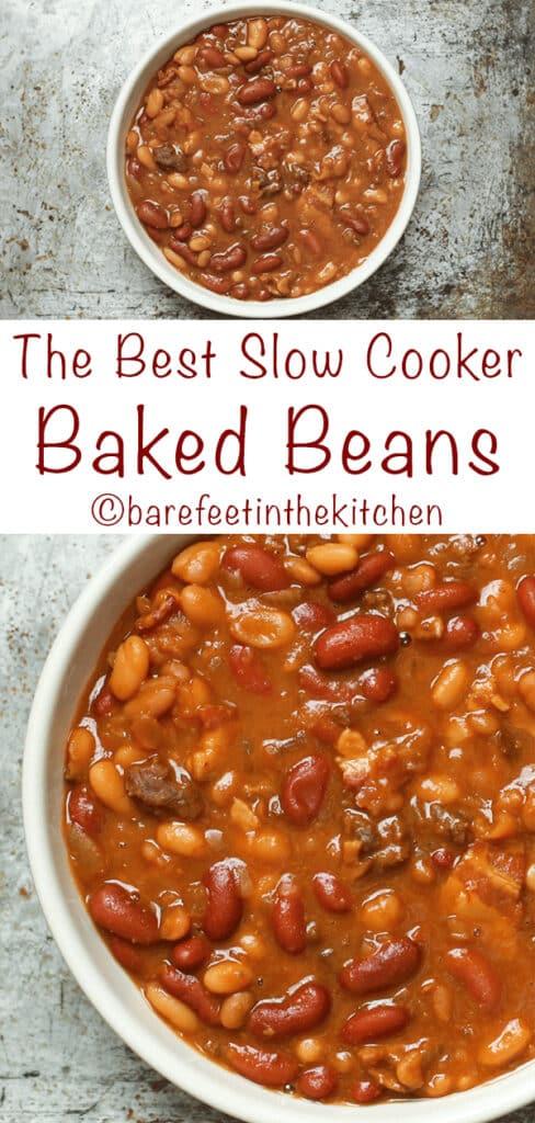 ¡Los mejores frijoles horneados Crockpot son los favoritos de los lectores!Obtén la receta en barefeetinthekitchen.com